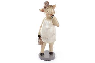 Декоративная фигурка Свинка в бежевом платье, 31см