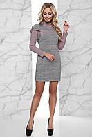 Оригинальное прямое платье в клетку, цвет: розовый, размер: S, M, L, XL