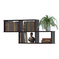 Полка книжная навесная на стену четверная 1150х520х196 Венге Магия Темно-коричневый (ПК-4 венге)