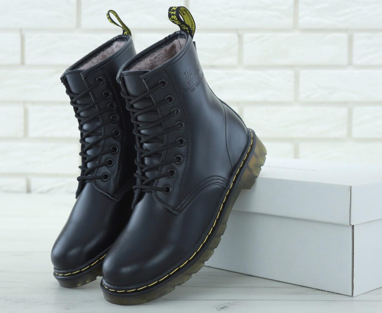 Зимние женские ботинки dr.martens black. ТОП Реплика ААА класса.