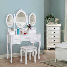 Туалетный столик белый + табурет, фото 3