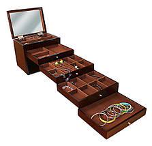 Шкатулка для ювелирных украшений бижутерии Коричневая , фото 2