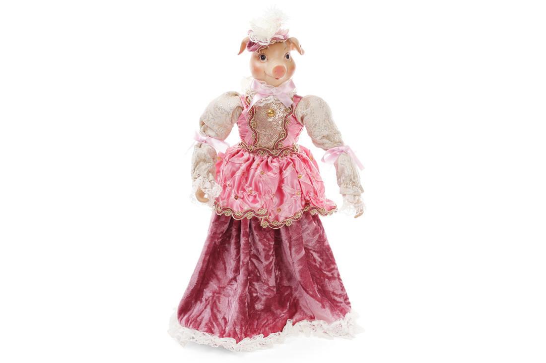 Декоративная фигура Свинка в платье 40см, цвет - розовый