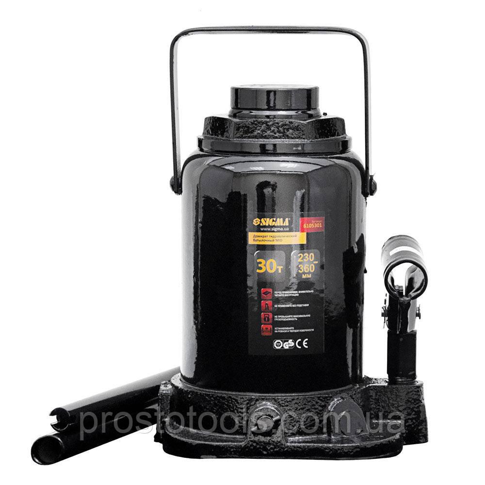 Домкрат гидравлический бутылочный mid 30т H 230-360мм Sigma (6105301)