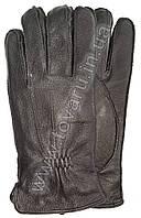 Мужские кожаные перчатки из оленьей кожи на махре - М12-5