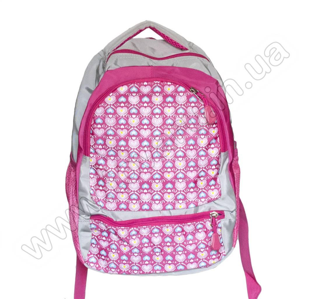 1067 - Рюкзак сердечки - Серо-розовый