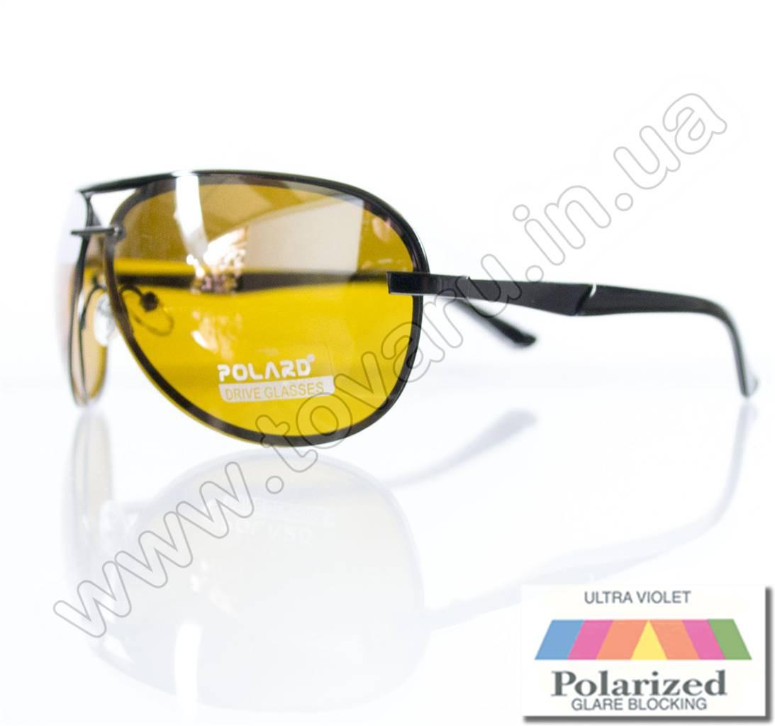 Очки унисекс солнцезащитные поляризационные - Антифара - Черные (желтое стекло) - PA06001