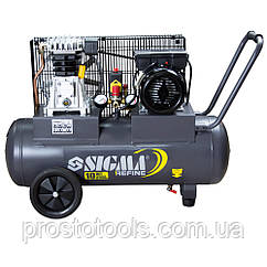 Компрессор ременной двухцилиндровый 2кВт 385л/мин 10бар 50л Sigma Refine 7044021