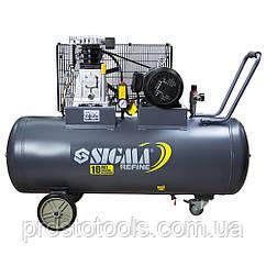 Компрессор ременной двухцилиндровый 380В 3кВт 550л/мин 10бар 150л Sigma Refine 7044231