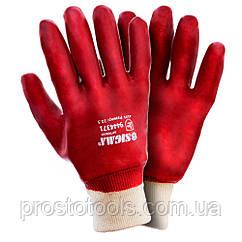 Перчатки трикотажные с ПВХ покрытием (красные манжет) 120 пар Sigma (9444371)