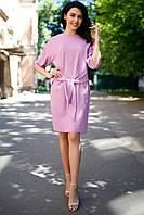 Хлопковое розовое платье Bianca с бантом