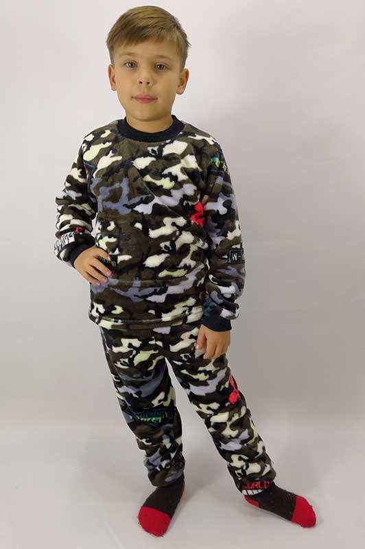 Пижама для мальчика с начесом и рисунком Милитари 30-36 р