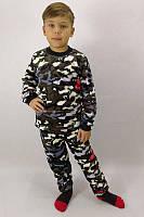 Пижама для мальчика с начесом и рисунком Милитари 30-36 р, фото 1