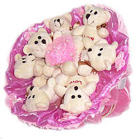 Букет из мягких игрушек Мишки 7 белые в розовом с заколкой