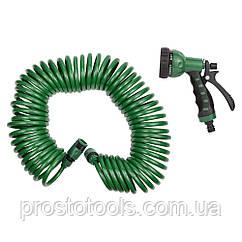 Набор поливочный: шланг спиральный 15м + пистолет распылитель 7-ми режимный Grad (5019075)