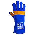 Перчатки краги сварщика р10,5, класс А, длина 35см (сине-желтые) Sigma (9449321), фото 2