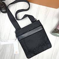 Новая модель женская сумка-планшет Calvin Klein CK черная через плечо унисекс текстиль Кельвин Кляйн реплика