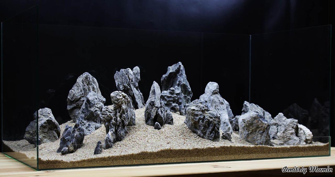 Композиція для акваріума від 160 літрів. Чорний кварц