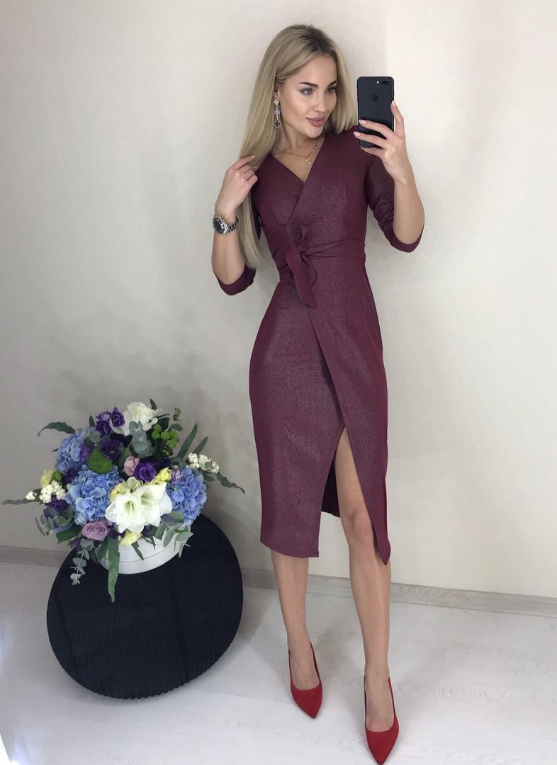 Платье приталенного кроя р-ры от 42 до 52 на запах с напылением / 4 цвета арт 7964-564