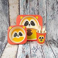 Набор детской посуды из бамбука - Енот