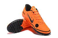 Футбольные сороконожки Nike Mercurial VaporX XII Club TF Total Orange/Black/Black, фото 1