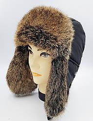Зимняя мужская шапка-ушанка Klaus Spartak Классика 56-58 Чёрная с Рыжим Мехом  (02)