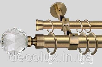 Карниз подвійний металевий діаметр 35 мм, Куля Кристал