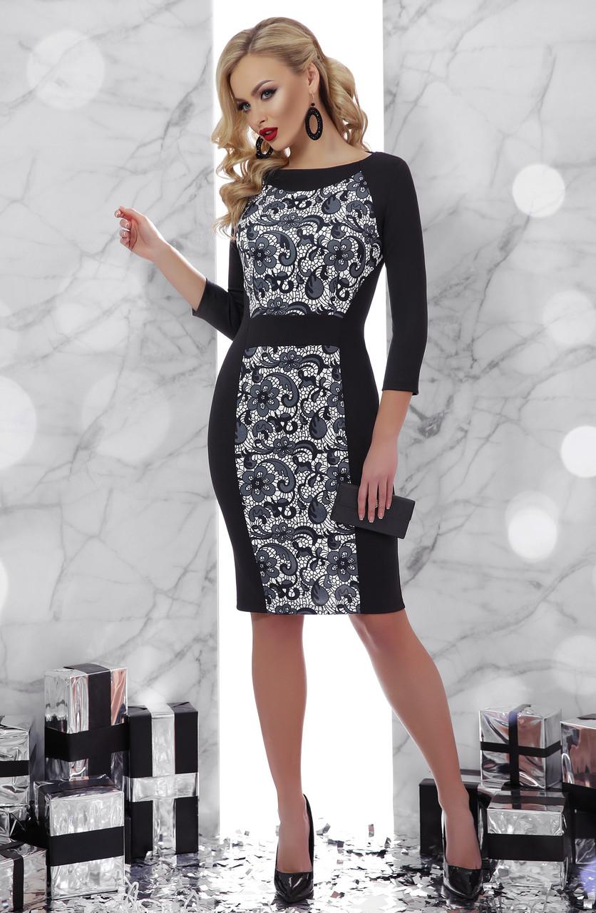 e5d9db717dac298 Коктейльное черное платье с цветочным принтом - Интернет-магазин