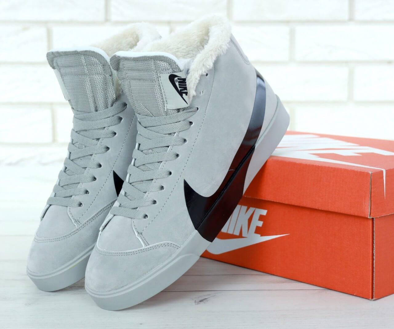 Мужские зимние кроссовки с мехом Nike Blazer Mid Grey Winter