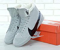 Мужские зимние кроссовки с мехом Nike Blazer Mid Grey Winter , фото 1
