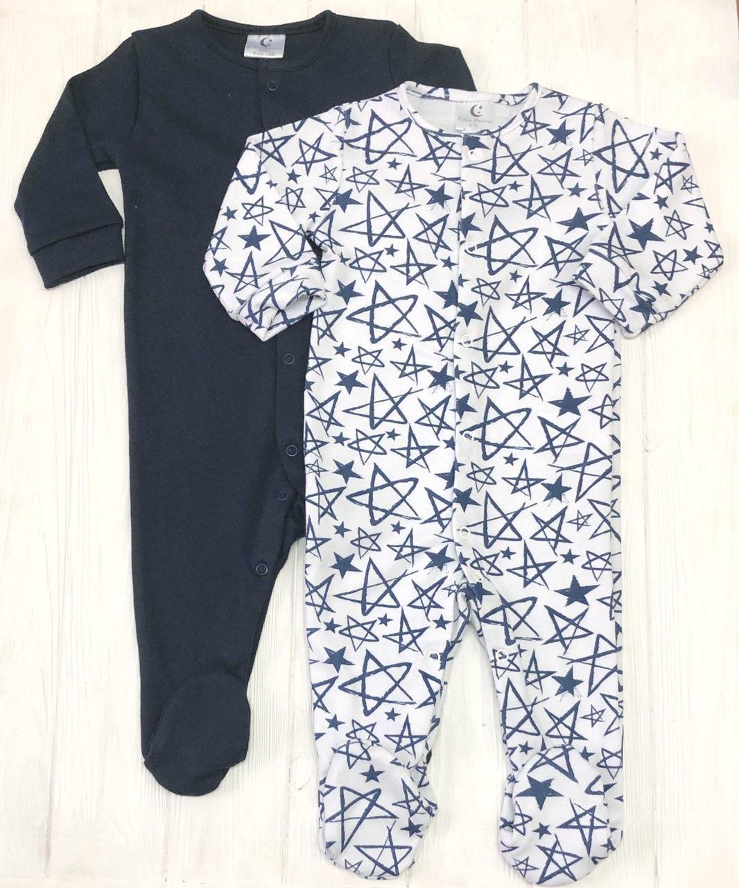 Модный детский комплект из 2 единиц Человечков,слипов Звезды+т.синий