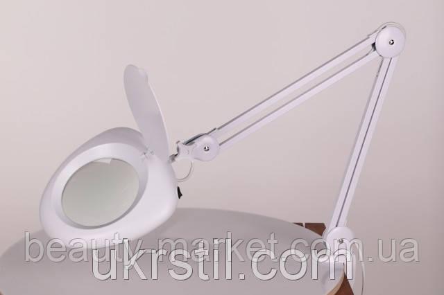 Лампа-лупа настольная 6016 LED на 3 диоптрии белая