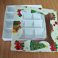 """Коробка для цукерок, macarons мелований картон з вікном """"""""Ялинка"""" (плівка ПВХ) 155*155*30"""