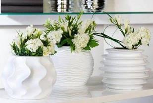 Ваза для квітів декоративна біла керамічна маленька кругла