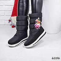 85b05cf4fe8c Зимние сапоги дутики женские Bila черные с цветочным принтом непромокаемый  текстиль