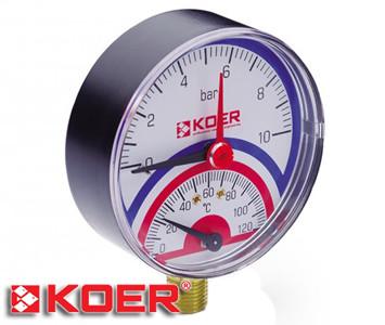 """Термоманометр радиальный Koer 0-10 bar D-80мм 1/2"""" KM.801R"""