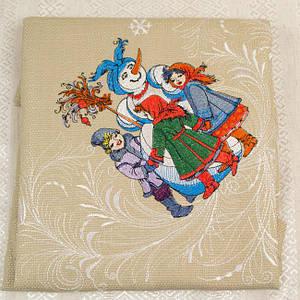 """Вышитая Рождественская салфетка """"Вертеп"""" 64х64 см."""