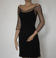 Черное вечерне коктейльное миди платье сетка с отдельной подкладкой MD-61098