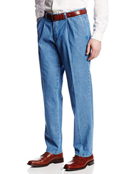 Джинсовые брюки Lee Men's Stain Resistant Relaxed-Fit Pleated Denim Pant  -  Stonewash (42W x 32L)
