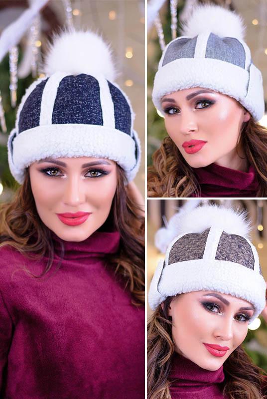 Теплая женская шапка на овчине