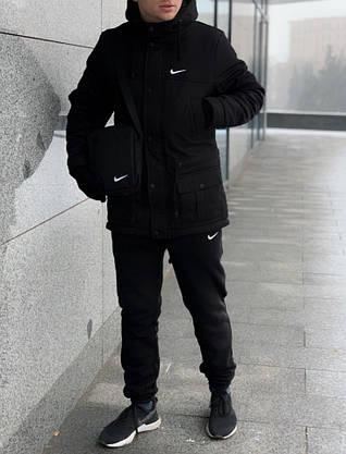 Комплект: Зимняя мужская парка Найк +теплые штаны. Барсетка Nike и перчатки в Подарок., фото 2
