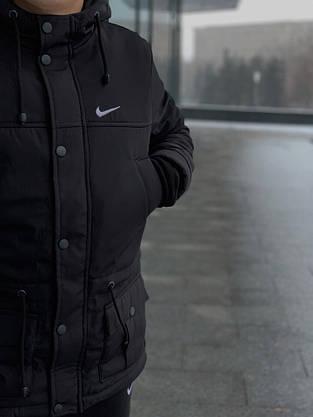 Комплект: Зимняя мужская парка Найк +теплые штаны. Барсетка Nike и перчатки в Подарок., фото 3