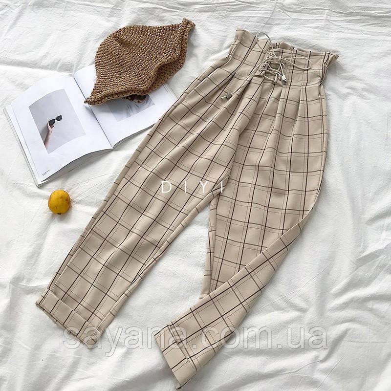 Женские штаны со шнуровкой с принтом в расцветках. СК-1-1218