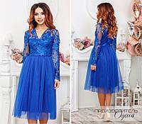 Нарядное нежное платье верх из ажурного кружеварасшито пайеткой с красивым декольте и фатиновой юбкой S, M, L