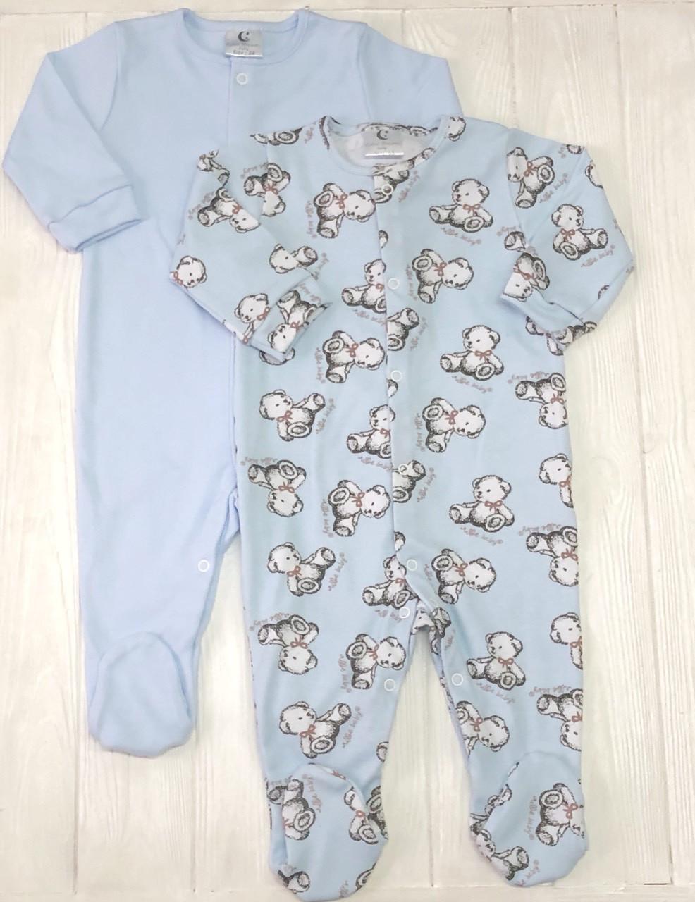 Нежный детский комплект из 2 штук  Человечков,слипов Плюшевые мишки+голубой