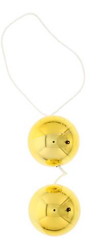 Вагинальные шарики Vibratone Unisex Duo Balls, золотые, фото 2
