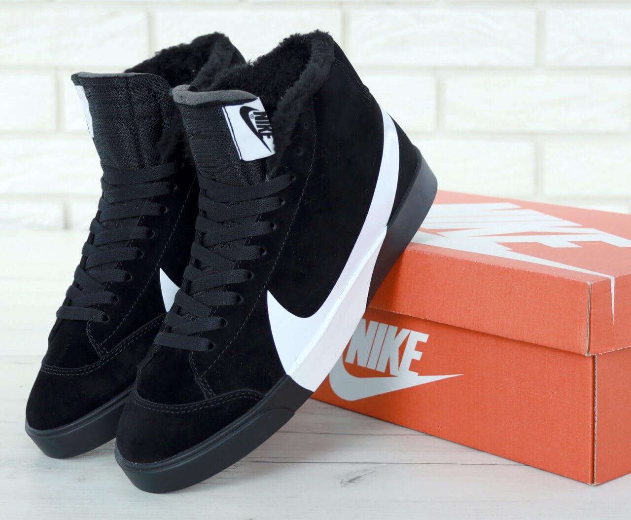 Мужские зимние высокие кроссовки с мехом Nike Blazer Mid Black Winter