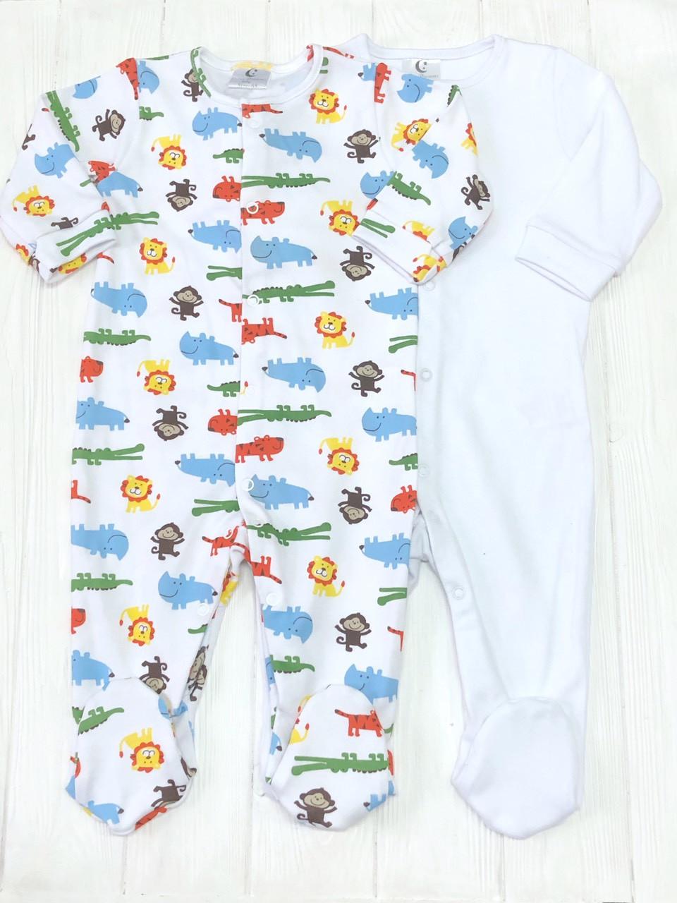 Комплект для младенца из 2 единиц Человечков,слипов Лимпопо+Белый