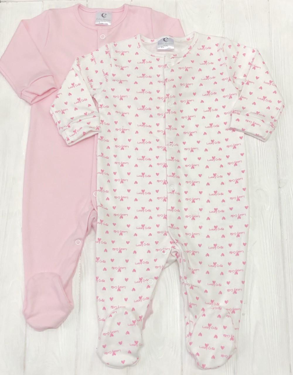 Детский комплект из 2 единиц для девочки Человечков,слипов Сердечки розовые +розовый