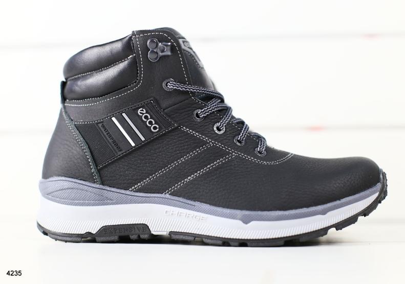 4b5975e9 Ботинки ECCO мужские зимние черные кожаные на меху - Интернет-магазин